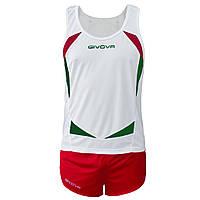 Комплект формы для легкой атлетики Givova Kit Sparta Белый/Красный, S