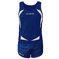 Комплект формы для легкой атлетики Givova Kit Sparta Синий/Белый, S