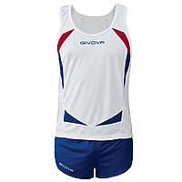 Комплект формы для легкой атлетики Givova Kit Sparta Белый/Синий, S