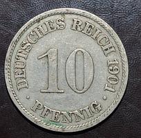 Германия 10 пфенингов 1901 год А