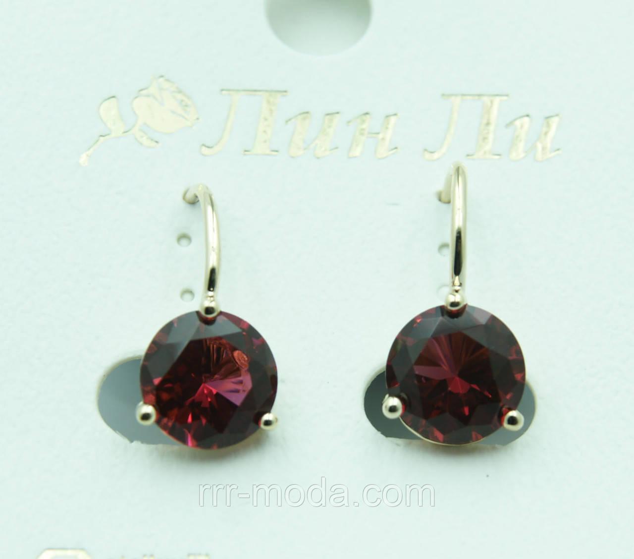 Рубиновые женские серьги под золото. Красивые серьги на каждый день оптом. 2259 - Бижутерия оптом «R. R. R.» в Одессе