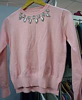Женская розовая красивая укороченная кофта с камнями