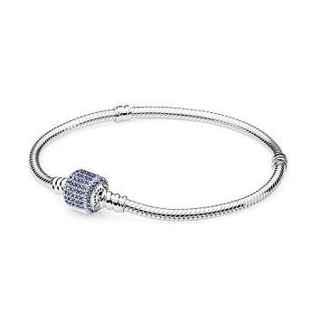 Браслет ссиней застежкой паве из серебра 925 пробы в стиле пандора