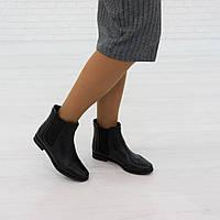 Ботинки на низком ходу из натуральной кожи черный, фото 1