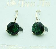 Зелёные женские серьги под золото. Классические украшения оптом. 2264