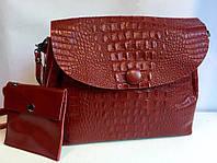 Женская сумка с пуговицей под рептилию, фото 1