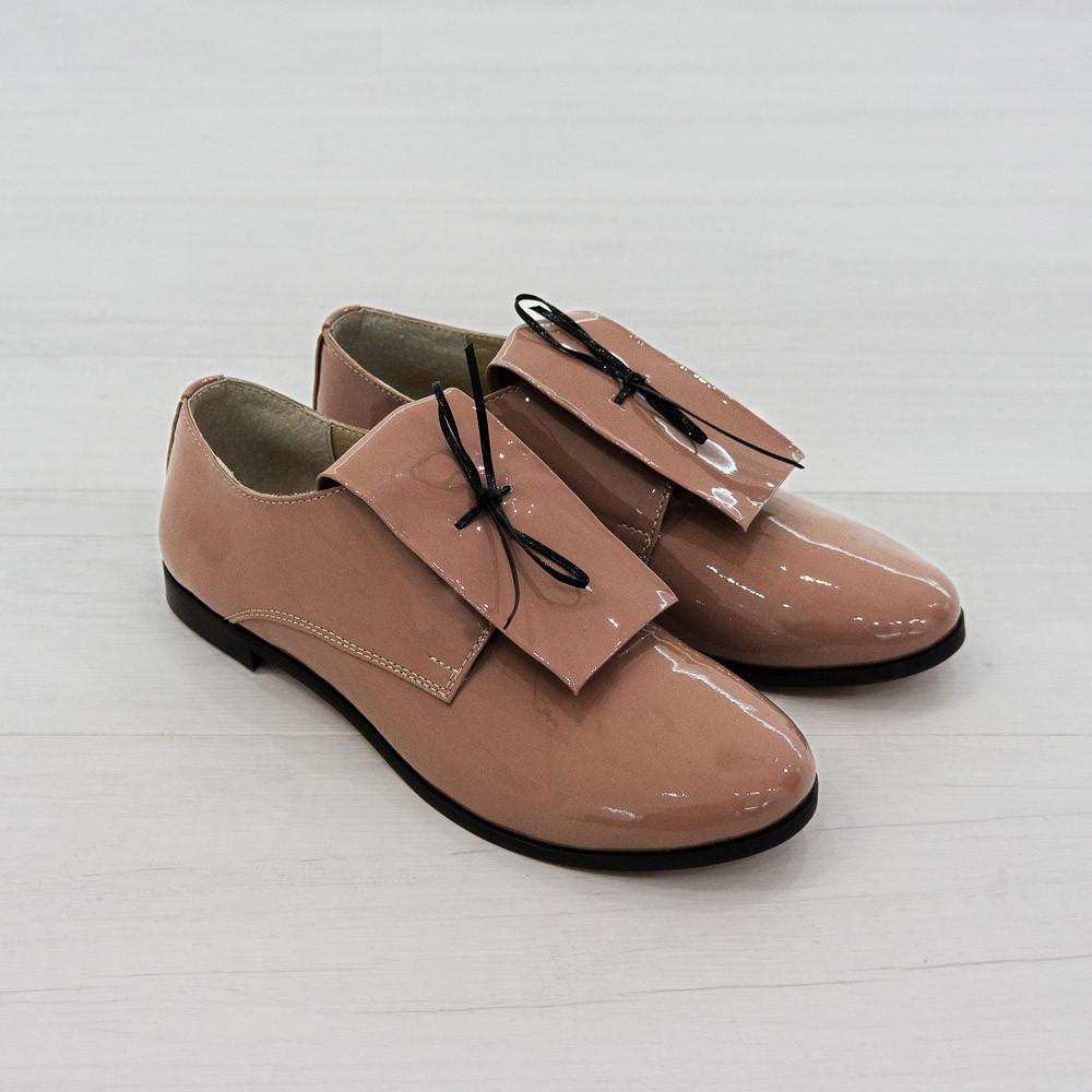 Туфли на низком ходу пудровый (О-615)