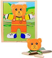 Логическая деревянная игрушка-пазл Одень Мишку