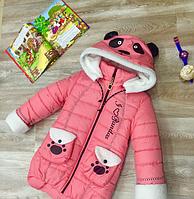 """Детское зимнее пальто """"Панда"""" нежно-розовое"""