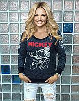 """Свитшот женский черный с принтом """"Mickey"""""""