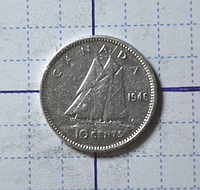 Канада 10 центов 1946год (серебро)