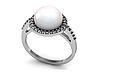 Серебряное родированное кольцо с большим натуральным жемчугом и цирконием - Кольцо с жемчугом серебро, фото 10