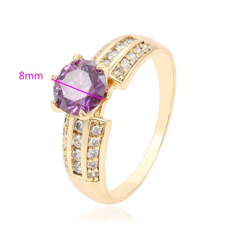 Кольцо с фиолетовым цирконием, р.17,5, р.18, р.18,5, позолота