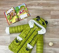"""Детское зимнее пальто """"Панда""""оливка"""