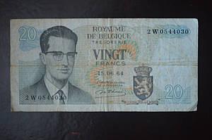 Бельгия, 20 франков, 1964 год (БО) 1