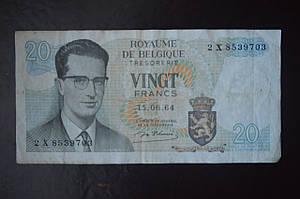 Бельгия, 20 франков, 1964 год (БО) 2