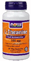 L-Тианин, Now Foods, L-Theanine, 100 mg, 90 vcaps