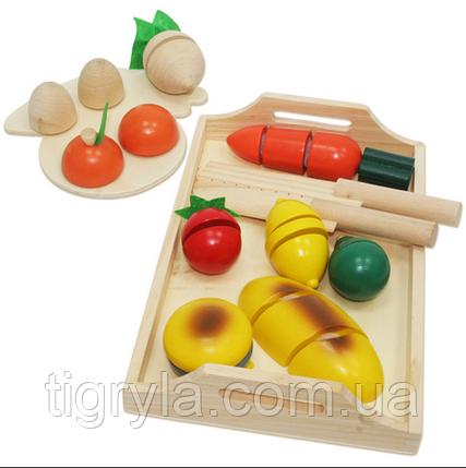 Деревянные продукты разрезные на липучках с ножом, деревянная игрушка овощи и фрукты нарезные , фото 2