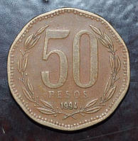 Чили 50 песо 1994 год (АЗ-7)
