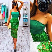 Женское стильное коктельное зеленое платье с гипюром