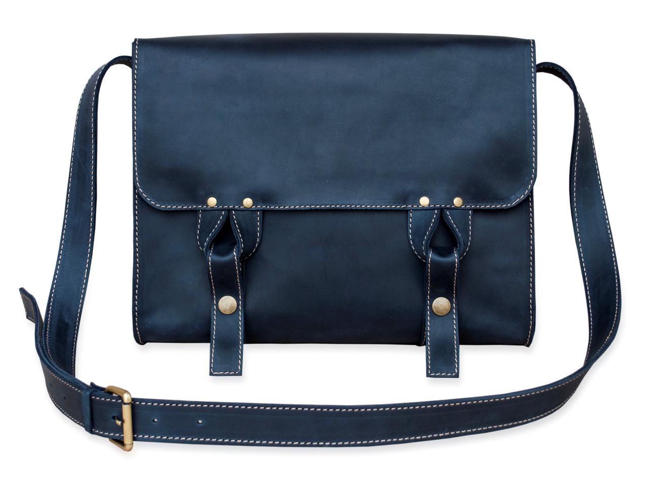 Satchel bag blue, мессенджер синяя