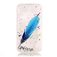 Чехол накладка силиконовый TPU Printing для Huawei Y625 Blue Feather
