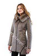 Женская дубленка с капюшоном и натуральным мехом Amber Fox