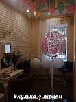 """Оформлення салону краси """"Дзеркало"""" до дня народження. Креативна фотозона з повітряних кульок в пастелих тонах, прозорі кулі -гіганти з серпантином на органзових стрічках доповнили стиль і вишуканість свята. #кулька_з_перцем"""
