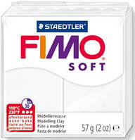 Полимерная глина пластика Фимо Fimo Soft белый 00 - 56гр. пластика полимерная глина