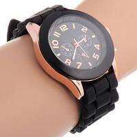 Черные женские наручные часы на силиконовом ремешке GENEVA jelly