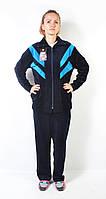 Женский велюровый спортивный костюм больших размеров   (синий/голубой)