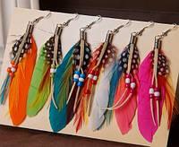 Большие яркие серьги перья