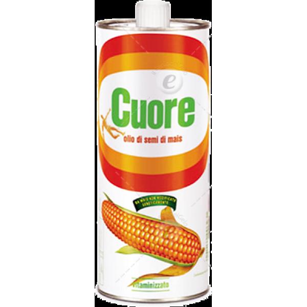 Кукурузное масло первого холодного отжима Olio di semi di mais Cuore ж/б 1 л.