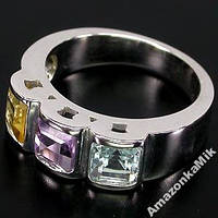 "Серебряное кольцо ""Эмма"" аметист, топаз, цитрин!"