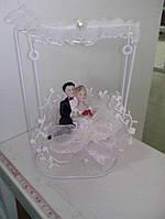 Свадебная статуэтка-качели на торт 15 см (25) белая