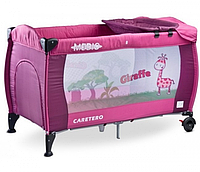 Манеж-кроватка Caretero Medio Classic - purple, пеленальный столик, колеса
