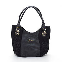 Повседневная, удобная женская сумка на плече. Универсальная, черная женская сумка. Сумка с цветами. Код: КБН50