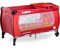 Манеж-кроватка Caretero Medio Classic - red, пеленальный столик, колеса