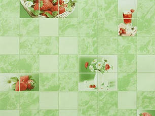 Обои на стену, клубника, ромашки, зеленый, влагостойкие, бумажные, Клубничка 878-04, 0,53*10м, фото 2
