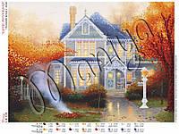 Схема для вышивания бисером Осенний вечер у дома