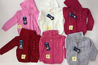 Вязанная кофта для девочки  с капюшоном1-3 года