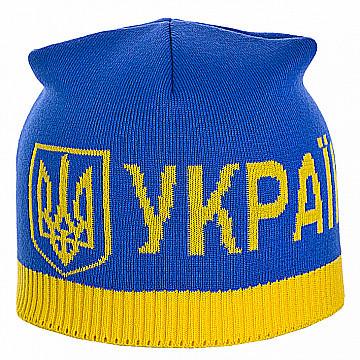 Мужская спортивная шапка с эмблемой Украины  двойной вязки  цвет  голубой