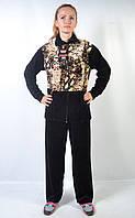 Женский велюровый спортивный костюм больших размеров   - шкура змеи (коричневая)