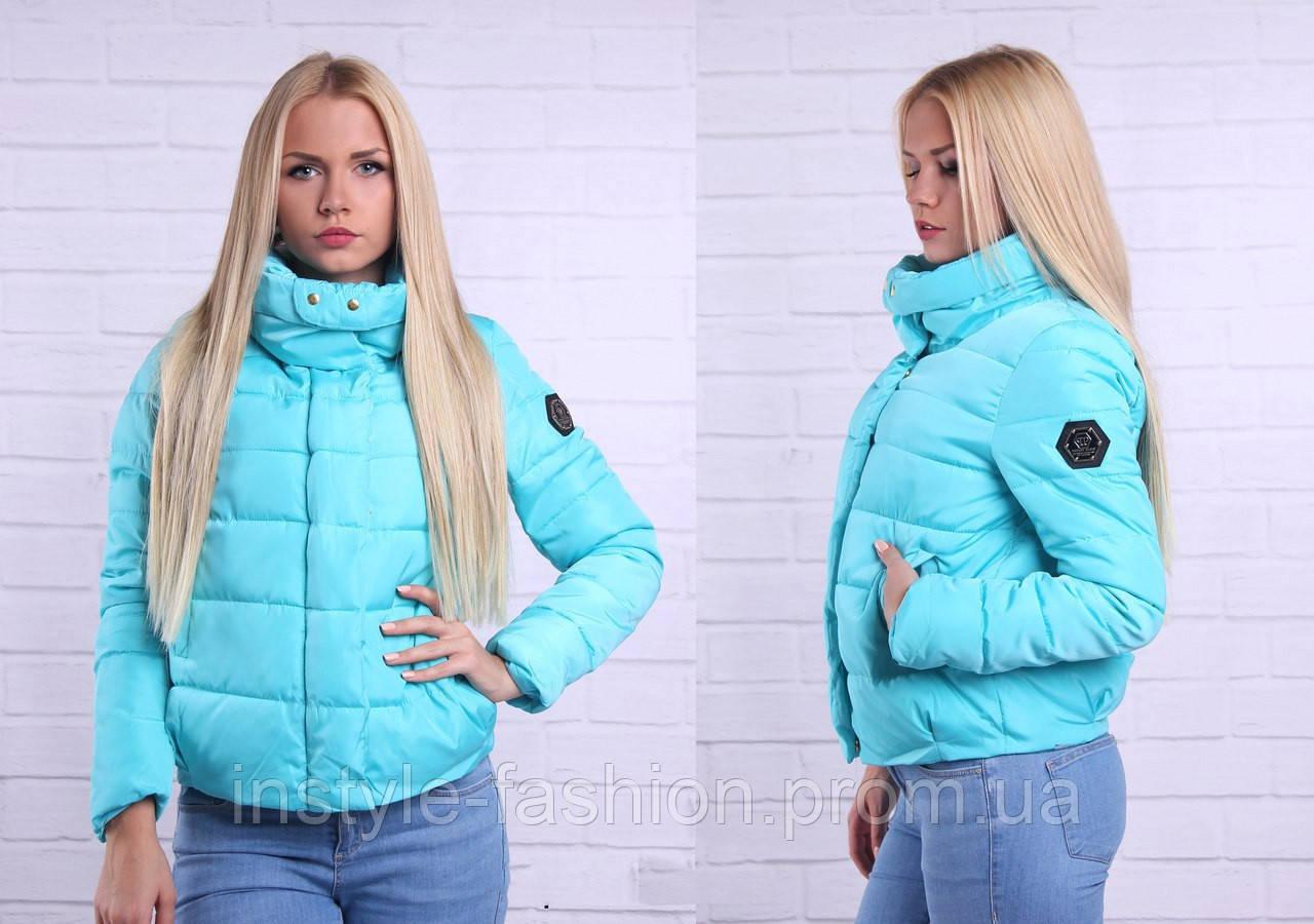 Модная женская короткая курточка Philipp Plein цвет голубой