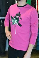 Молодежный мужской  джемпер малиновый с принтом, фото 1
