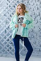 Теплое мятное пальто ZL1118
