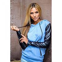 Кофта с капюшоном длинный рукав голубой джинс+черн