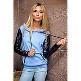 S/44 Кофта с капюшоном длинный рукав голубой джинс+черный, фото 2