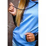 S/44 Кофта с капюшоном длинный рукав голубой джинс+черный, фото 4