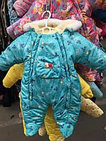 """Детский зимний комбинезон """"Человечек"""" цветной (бирюза мишка Baby )"""